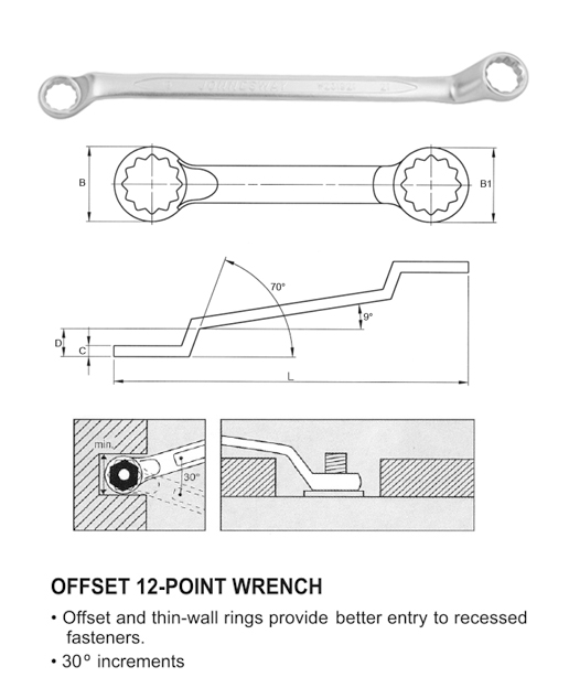 75° OFFSET RING WRENCH(MM)